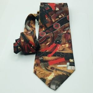 Ralph Marlin Mens Silk Tie Novelty Tools 3 1/4 x 5